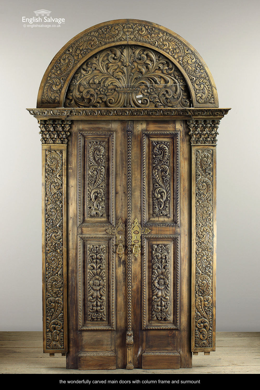 Antique Carved Wood Interior Room Panel Set