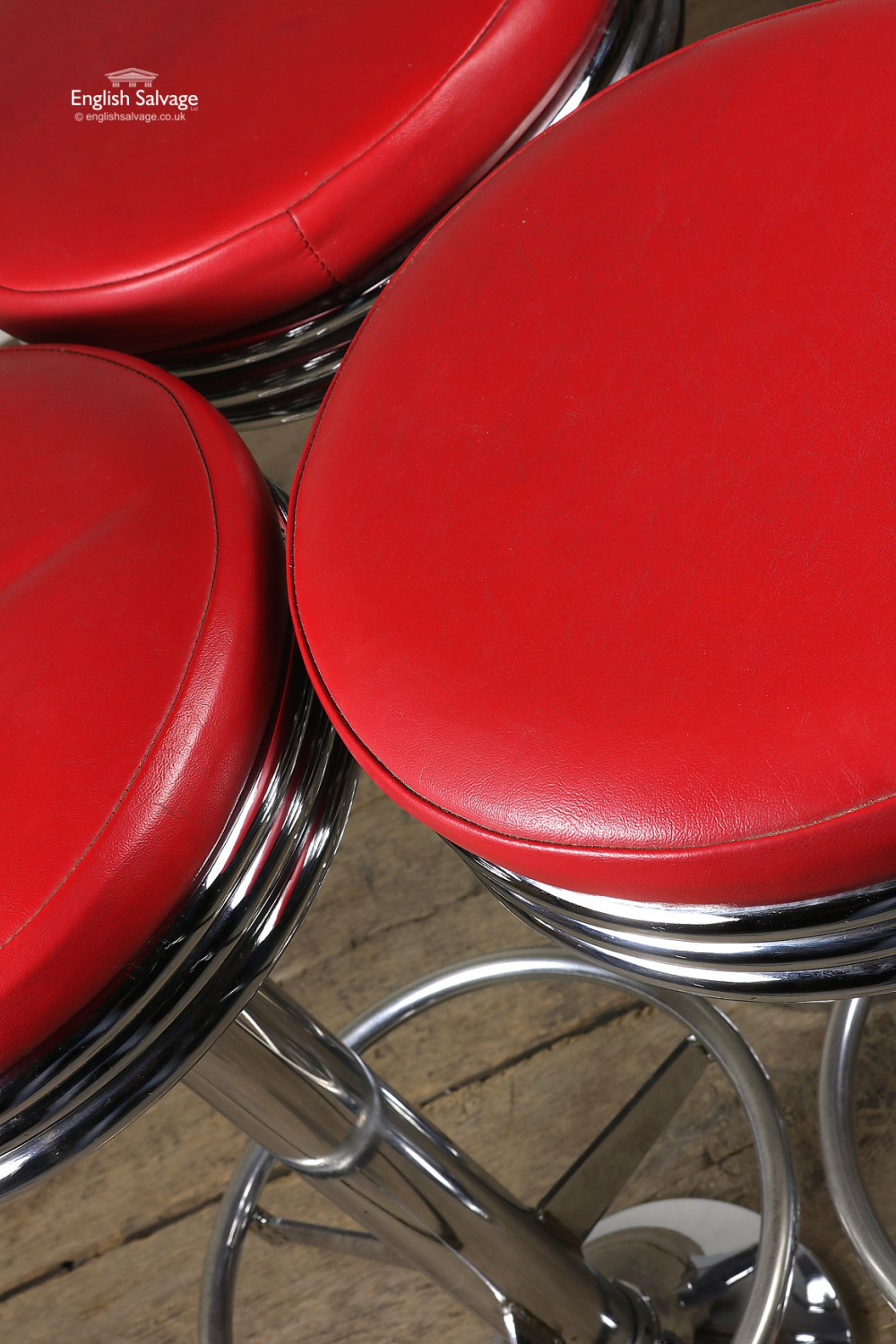 1950s American Diner Style Red Chrome Stools