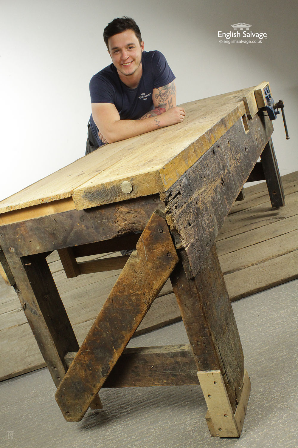 Reclaimed Wooden Work Bench & Vice