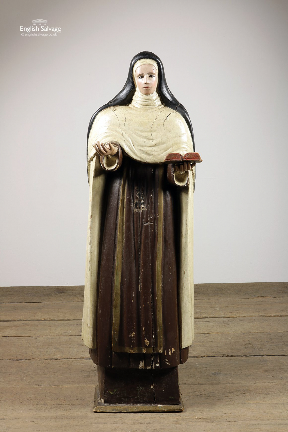 Late 18th C Continental Nun Saint Statue