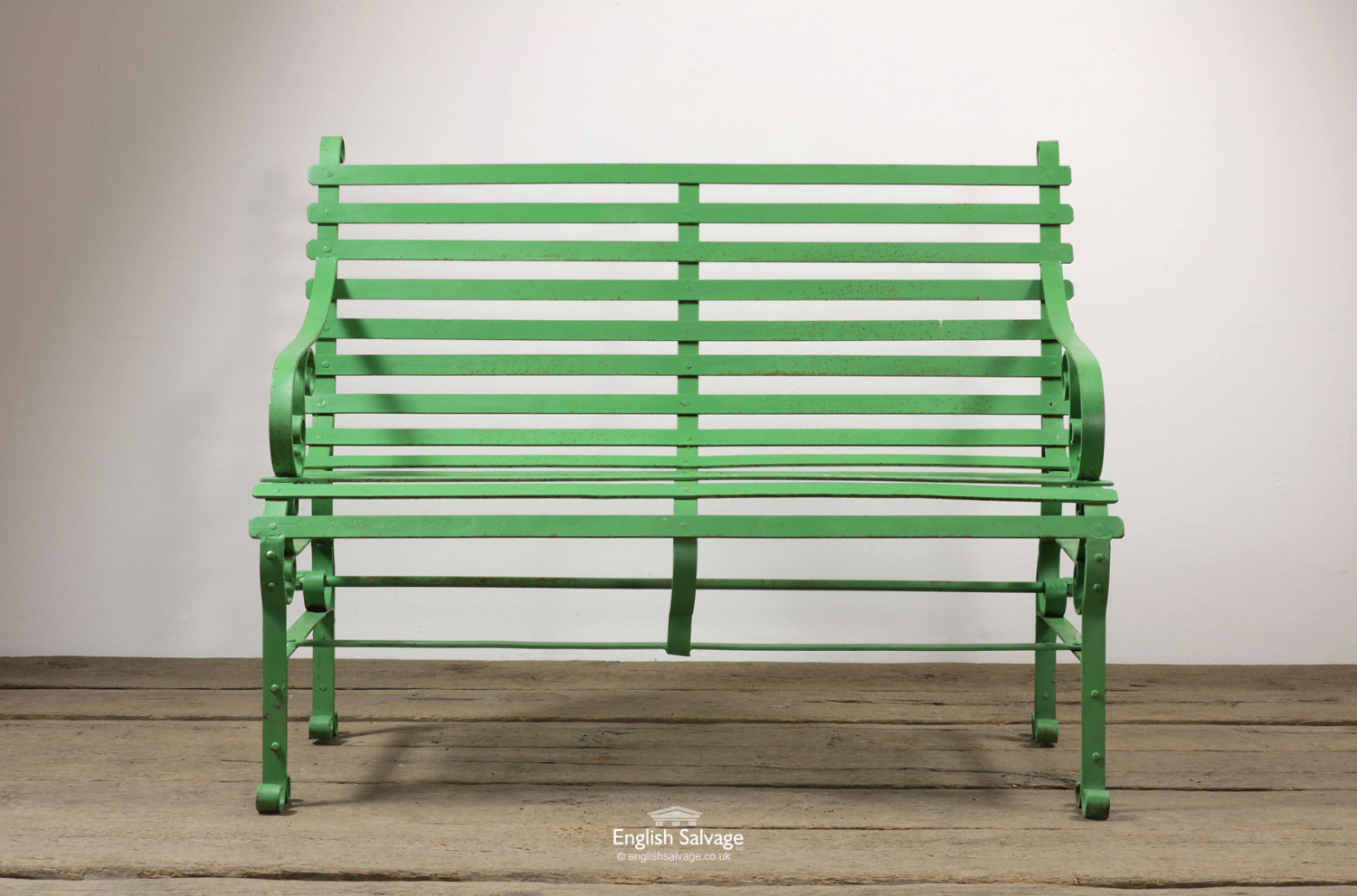 New Green Scroll Slatted Metal 2 Seat Bench