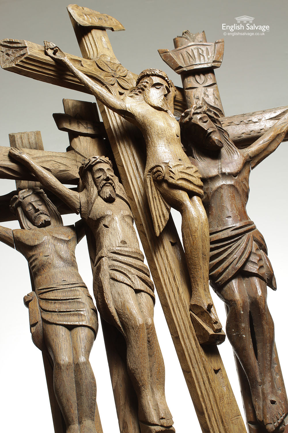 Selection Of Vintage Carved Wooden Crucifixes
