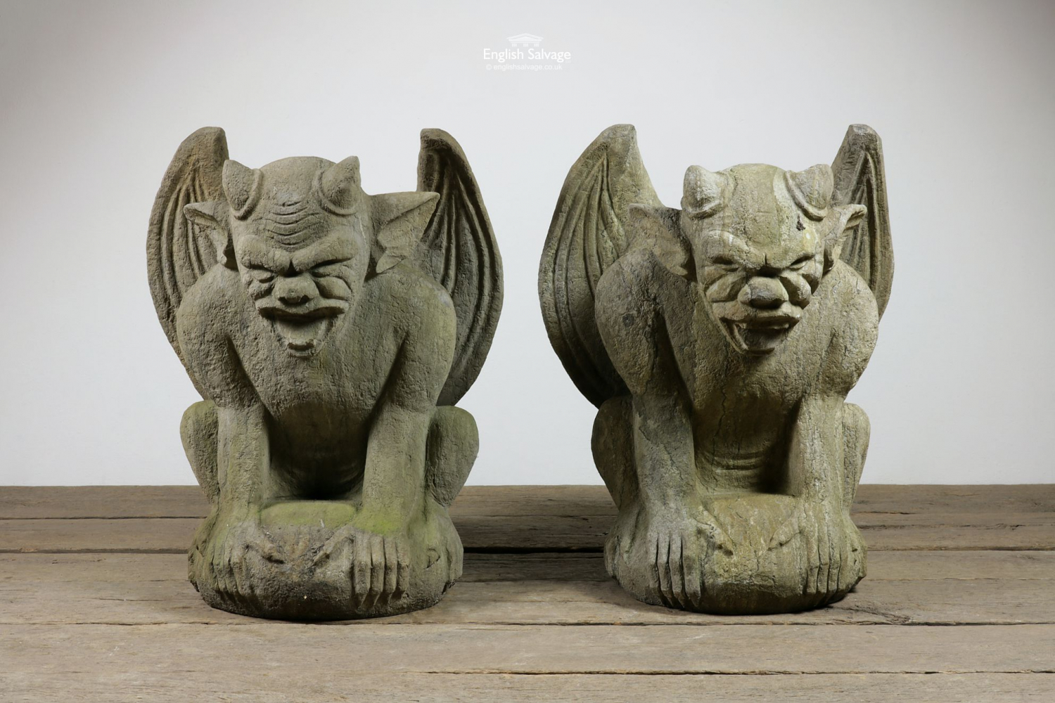 Large Hand Carved Stone Gargoyles