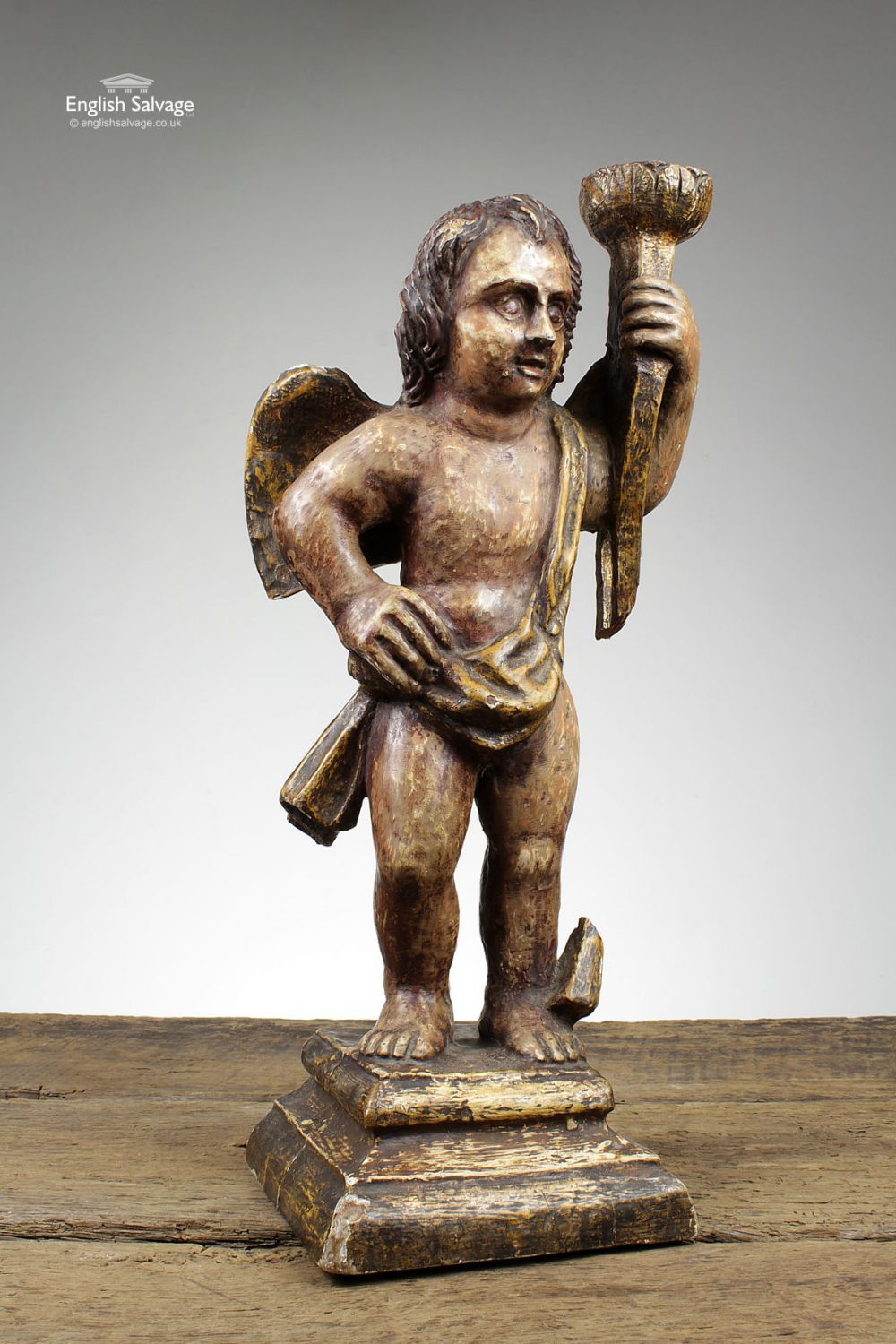 Antique 18th Century Carved Cherub Statue