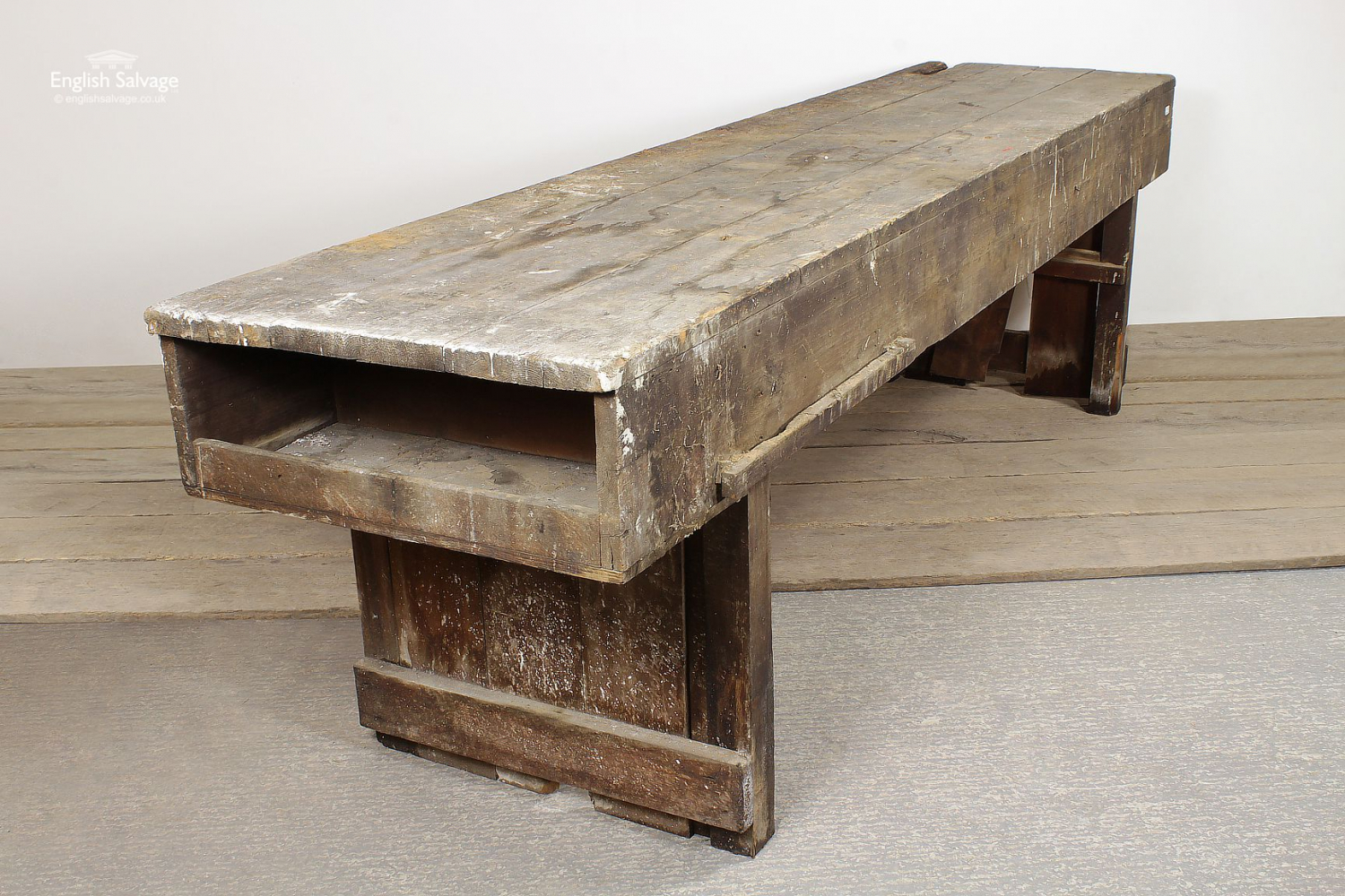 Vintage Wooden Work Bench Large Table