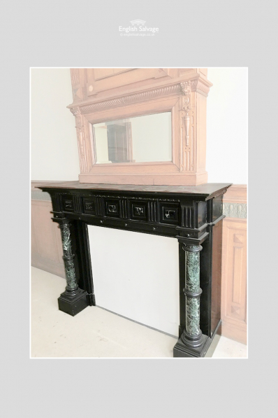Antique French Marble & Slate Fire Surround