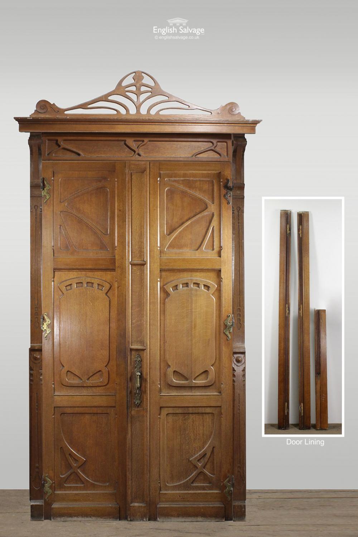 Art Nouveau Neo Renaissance Oak Double Door