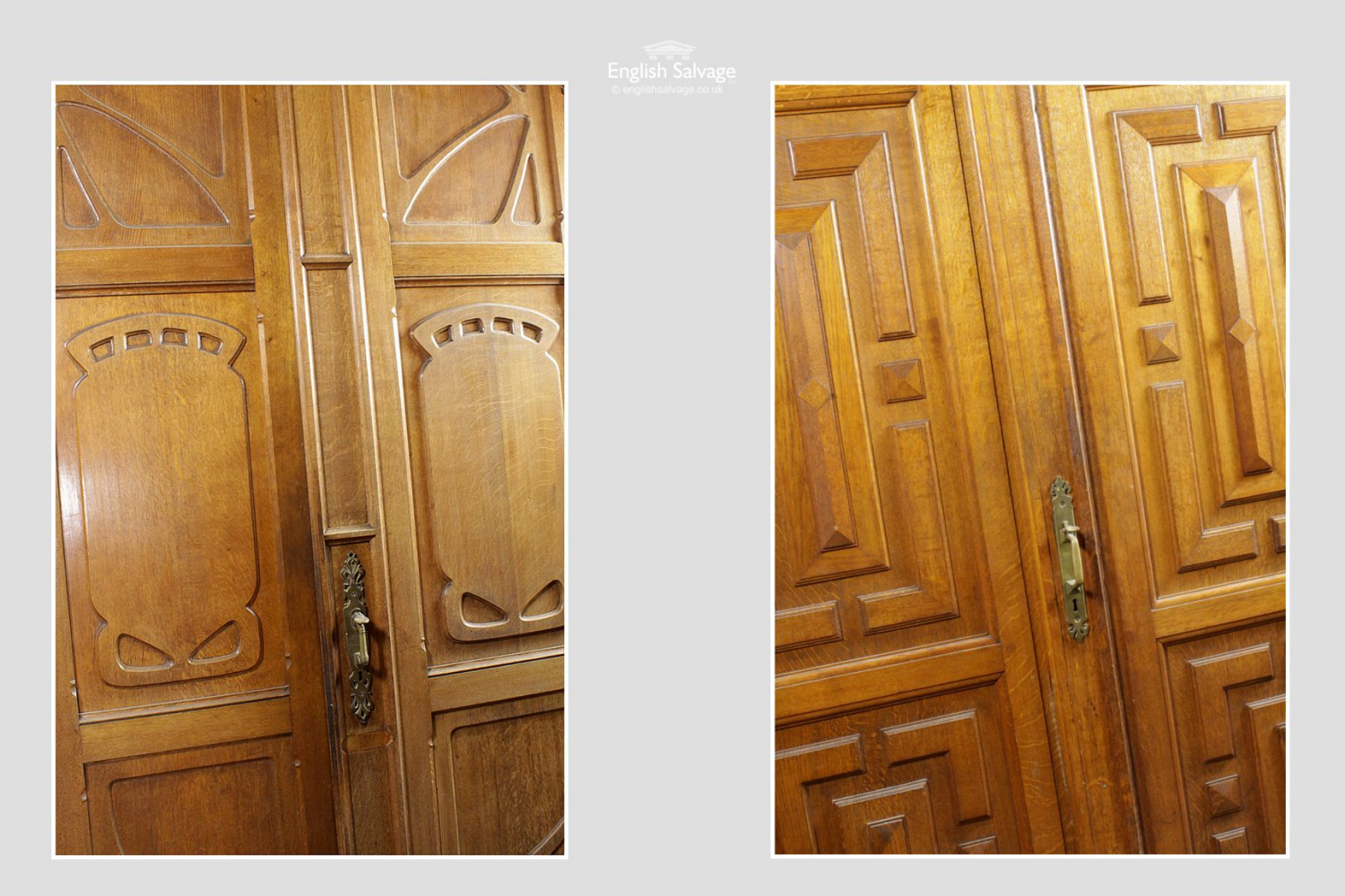 Art Nouveau Neo Renaissance Oak Double Door