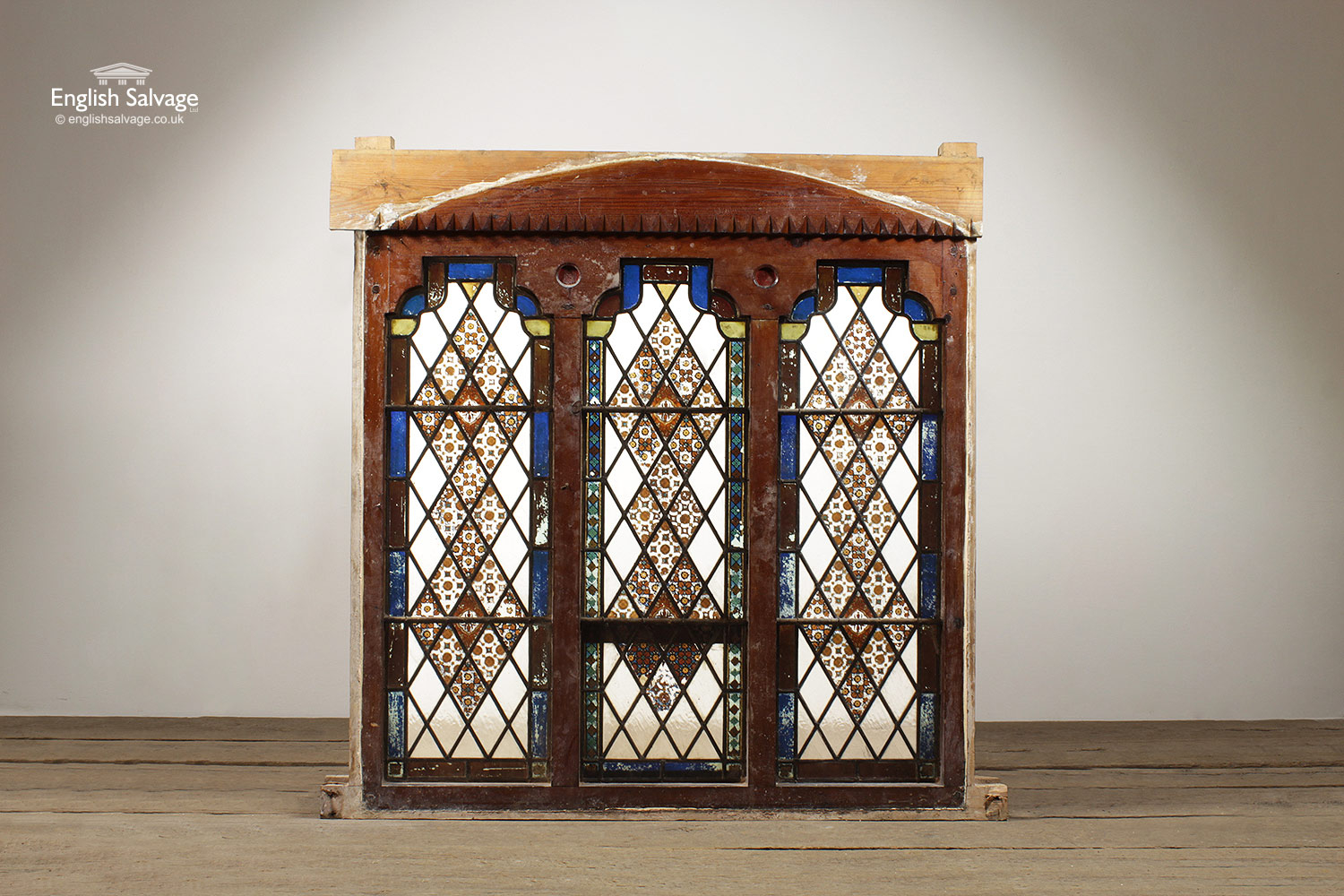 Triple Leaded And Painted Glass Window