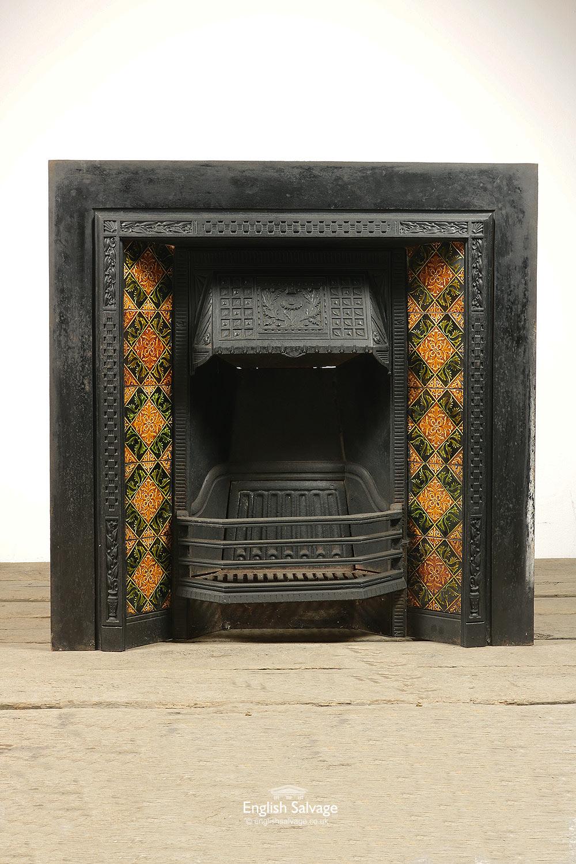 Vintage Carron Embossed Tiled Fire Insert