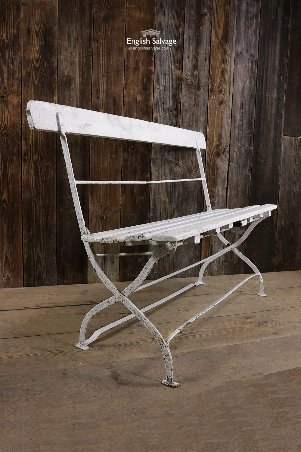 Vintage Wrought Iron And Wood Folding Bench