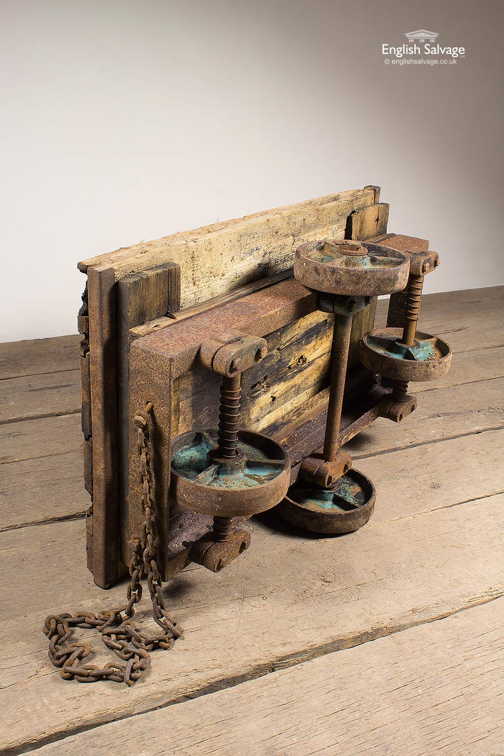 Salvaged Old Rustic Cast Iron Trolley Cart
