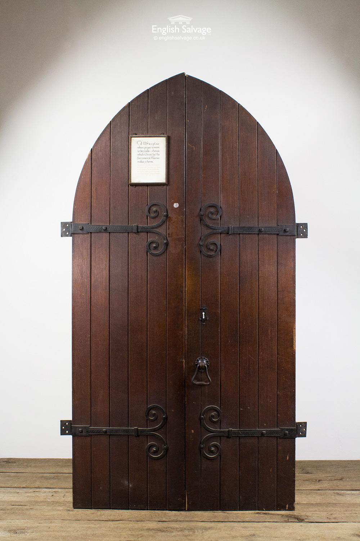 Antique Oak Plank Arched Church Double Doors