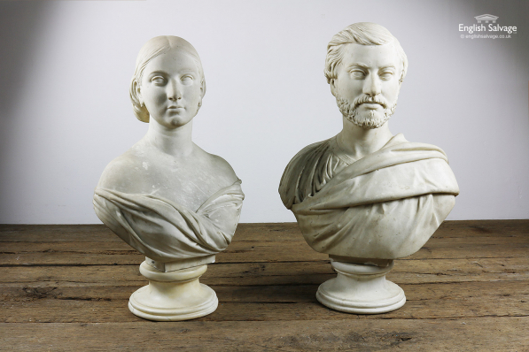 Reclaimed Lady and Gentleman Marble Busts