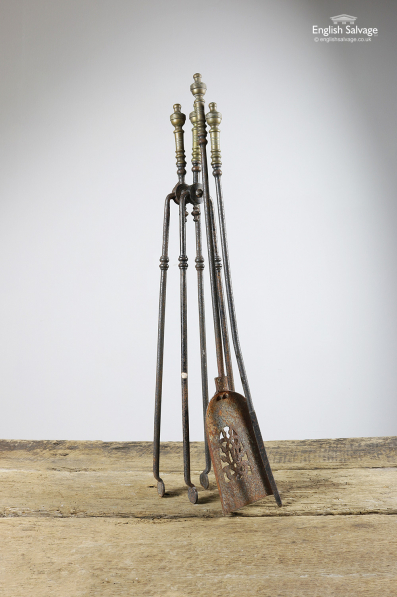Salvaged Brass Urn Topped Fire Tools Set