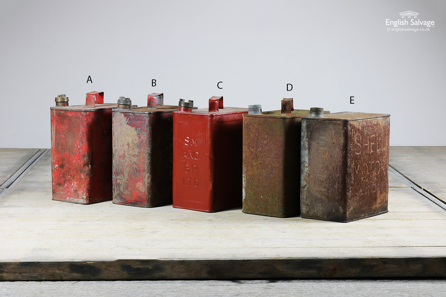 Selection Of Vintage Petrol Fuel Cans
