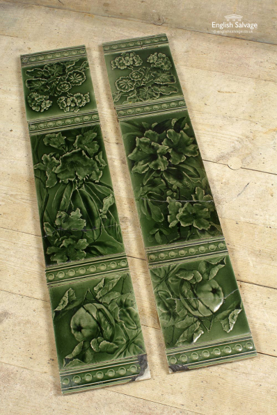 Green Fireplace Tiles with Fruit Design