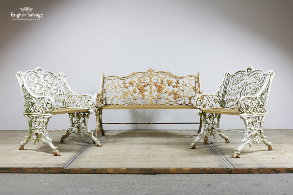 Prime Reclaimed Ornate Garden Bench Chairs Set Pdpeps Interior Chair Design Pdpepsorg