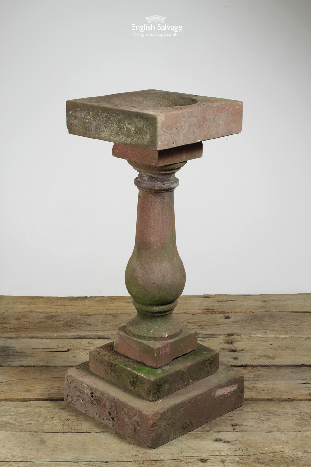 Red Sandstone Small Bird Bath On Plinth