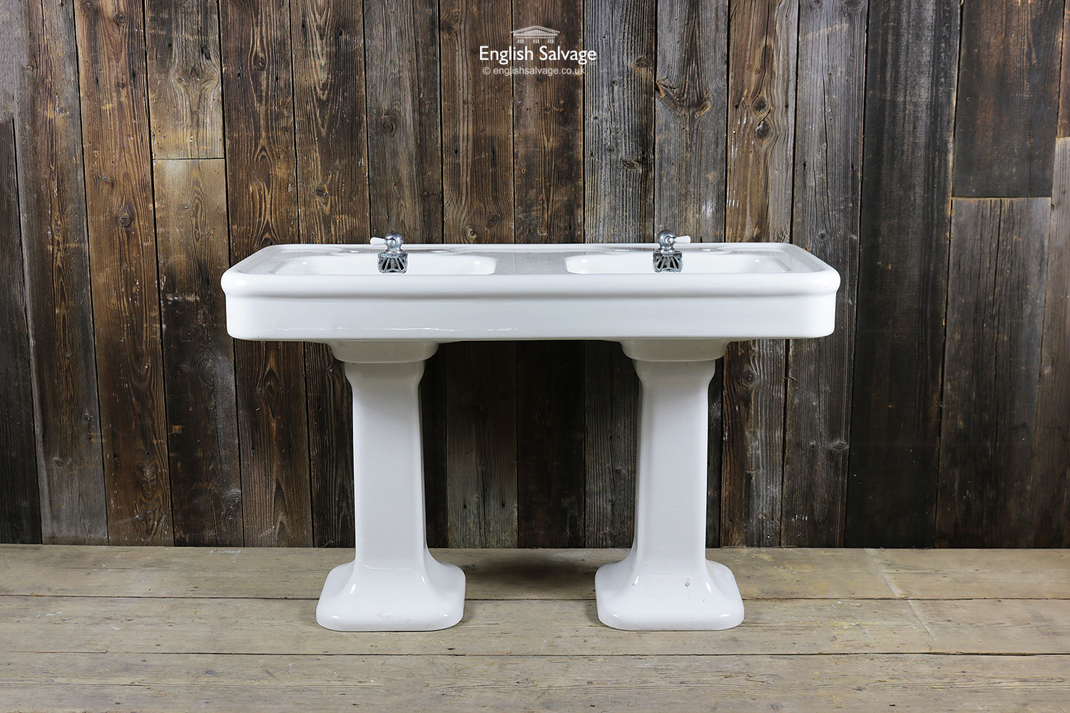 Antique French Porcher Double Pedestal Sink