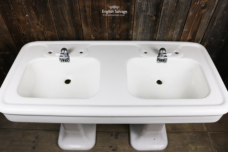 Antique French Porcher Double Pedestal Sink