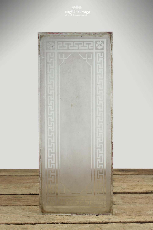 Acid Etched Greek Key T Patterned Glass Panel