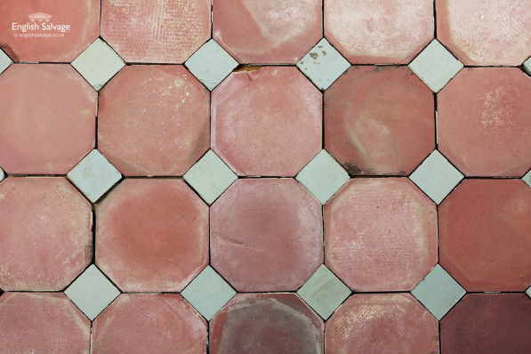 Red Octagonal Floor Tiles & Small Blue Insert
