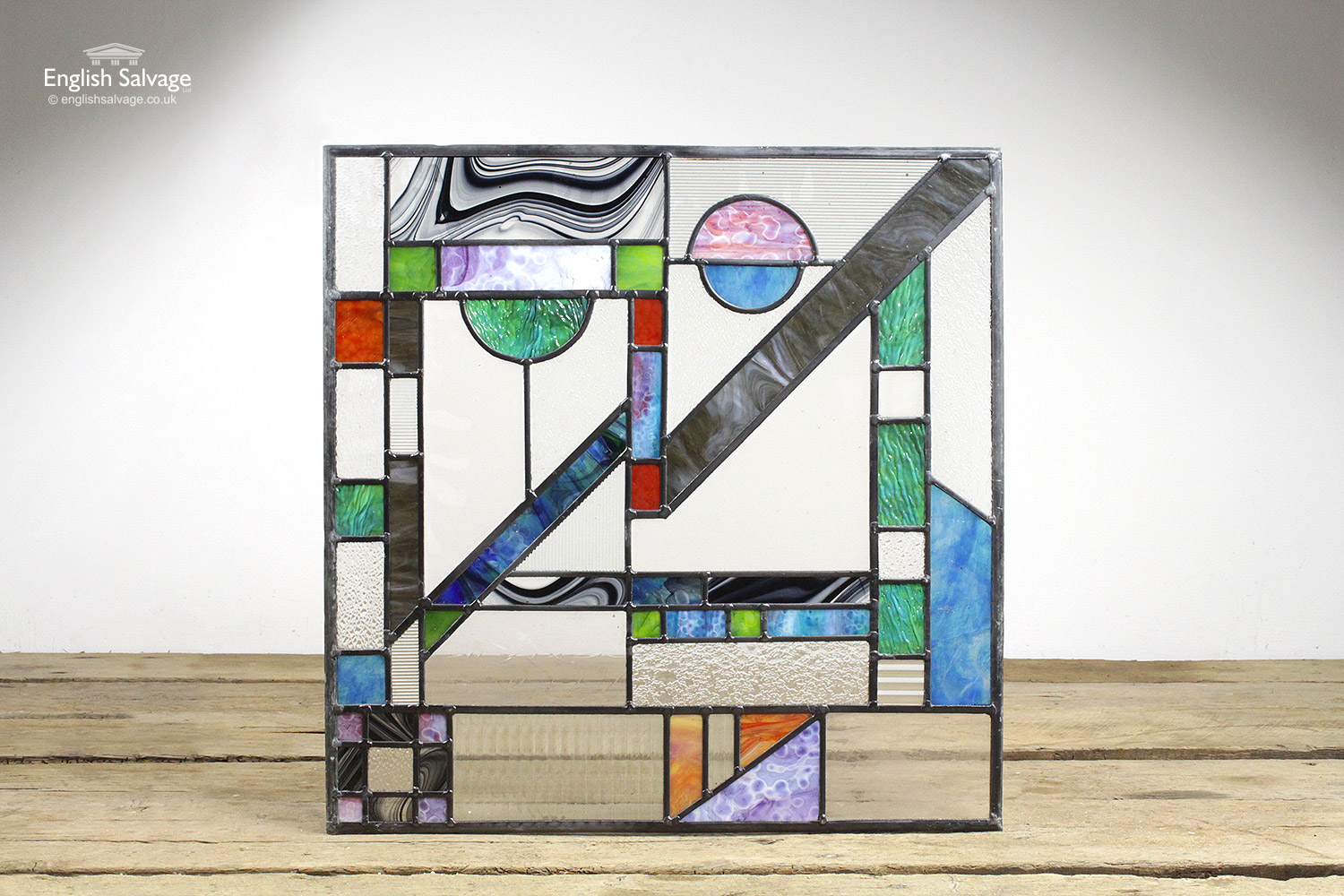 Mid Century Modern Geometric Stained Glass