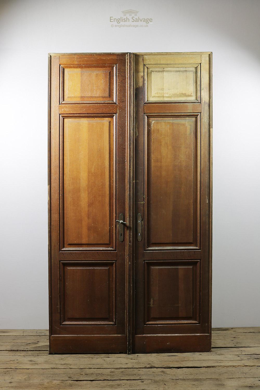 Antique 3 Raised Panel Oak Double Doors