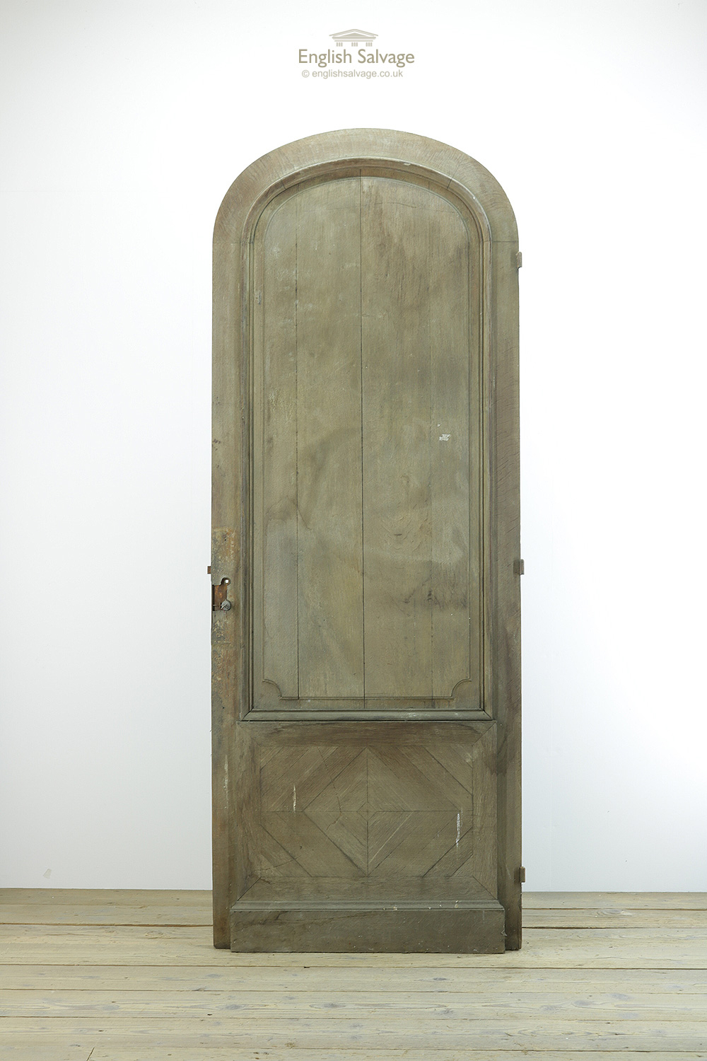 Antique Arched Top Oak Panelled Door