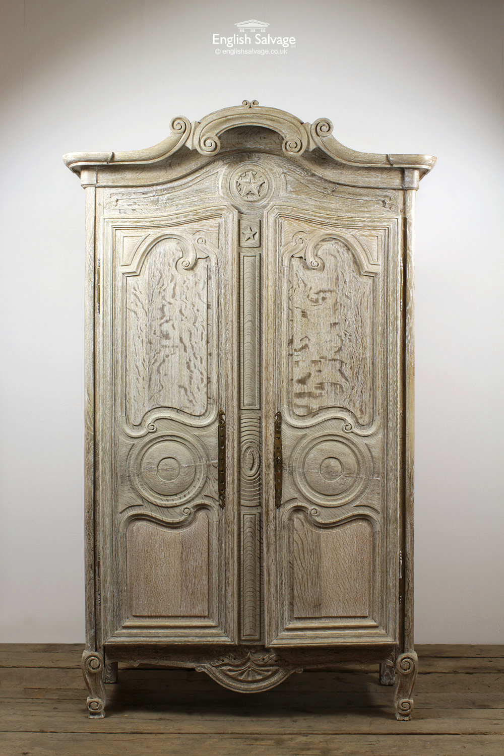 Antique Ornate Oak Armoire Wardrobe