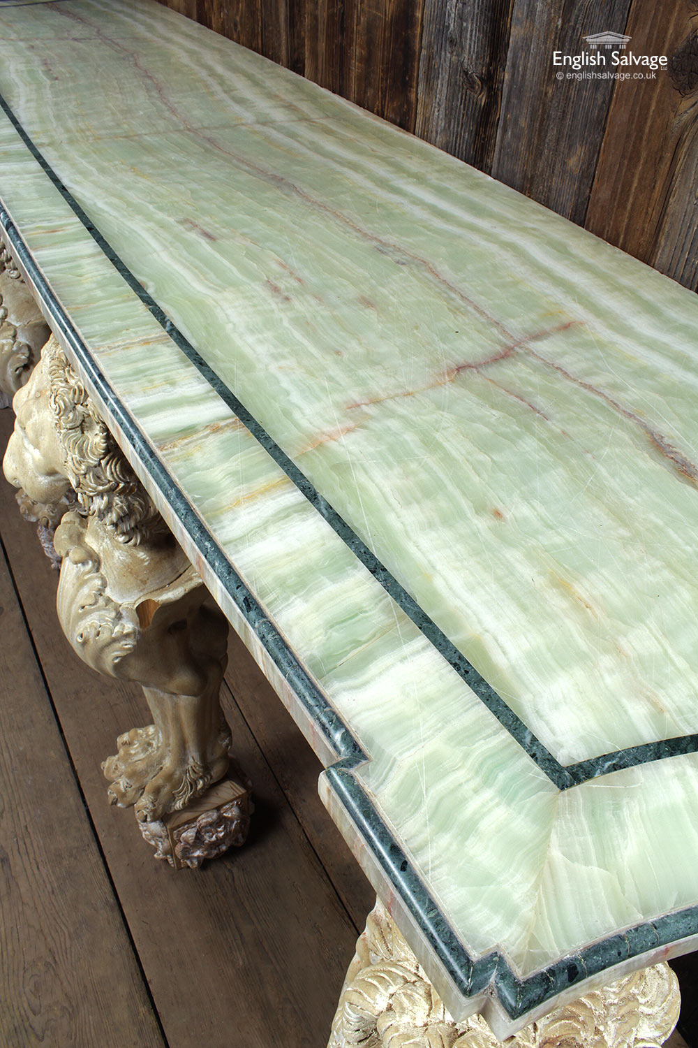 Green Onyx Carved Console Table
