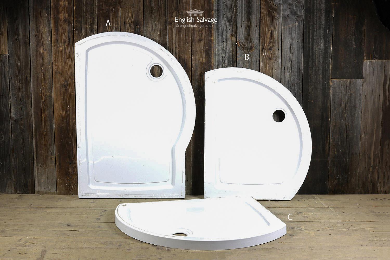 White Fibreglass Shaped Shower Trays