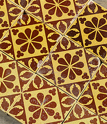 Historical Victorian Encaustic Floor Tiles And Geometric
