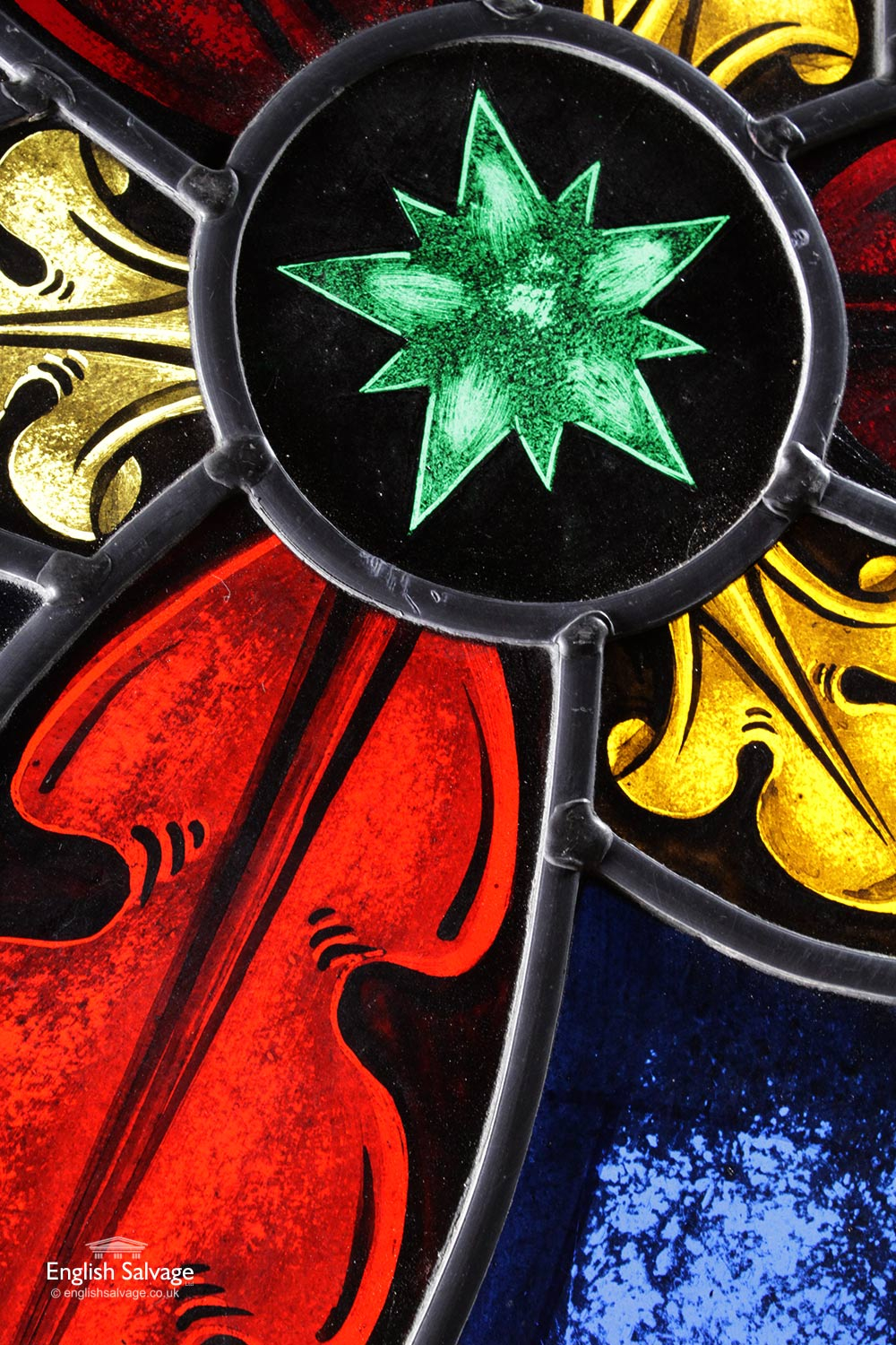 Salvaged Trefoil Stained Glass Panels