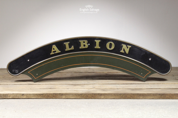 Vintage Arched Metal Albion Locomotive Sign