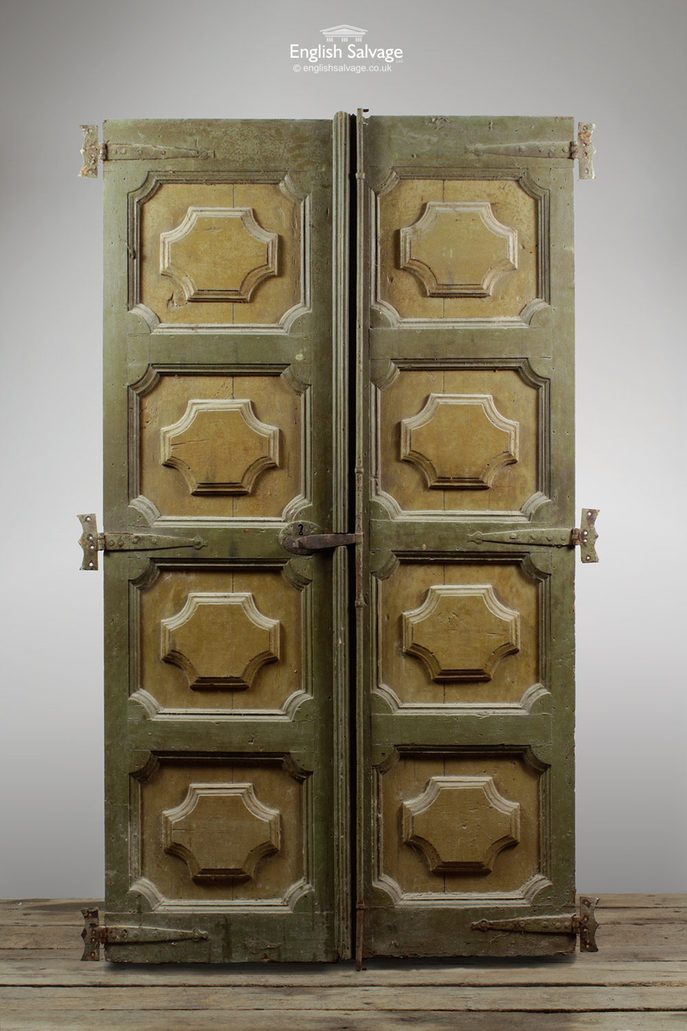 Antique Hand Carved Panelled Pine Double Door