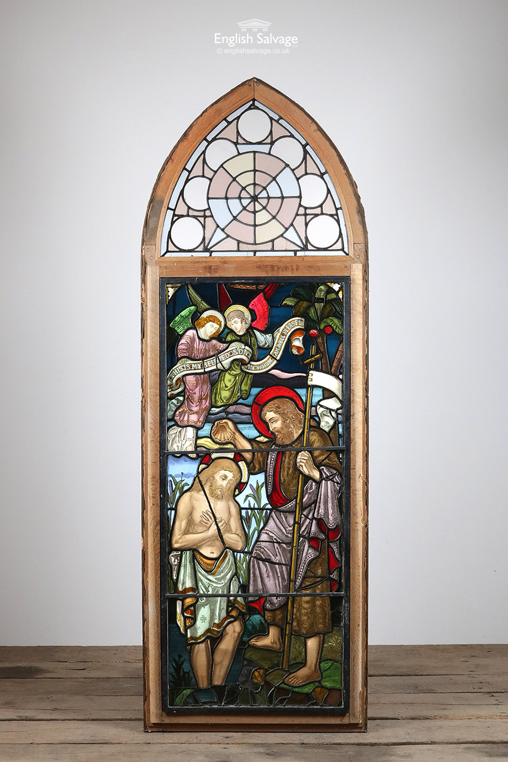 Baptism Of Jesus Stained Glass Arch Oak Frame
