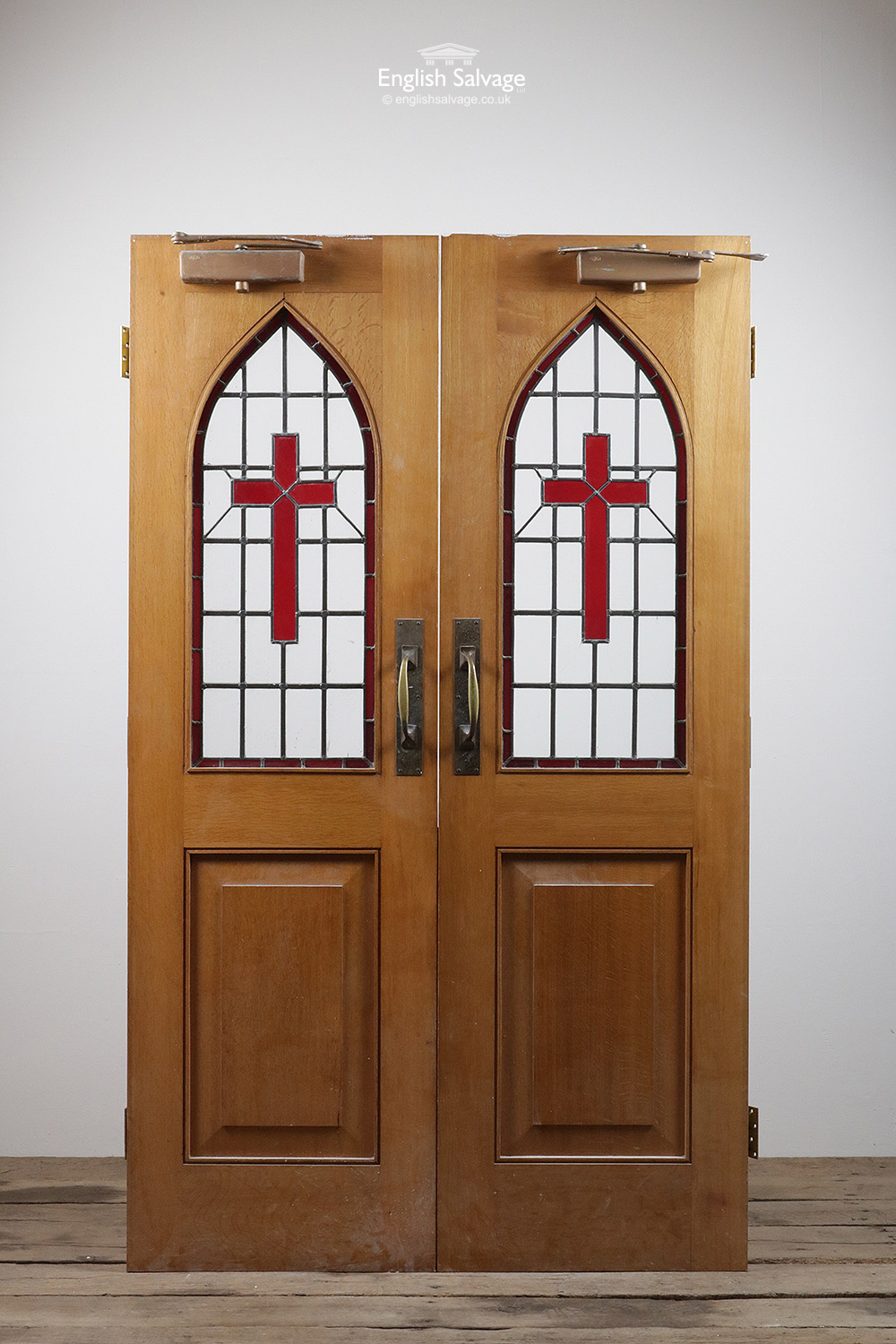 Vintage Oak Double Stained Glass Church Doors