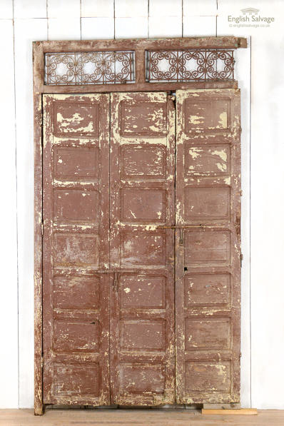 Antique 3 panelled folding doors in frame