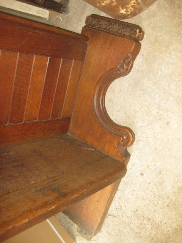 Antique Carved Oak Church Pew