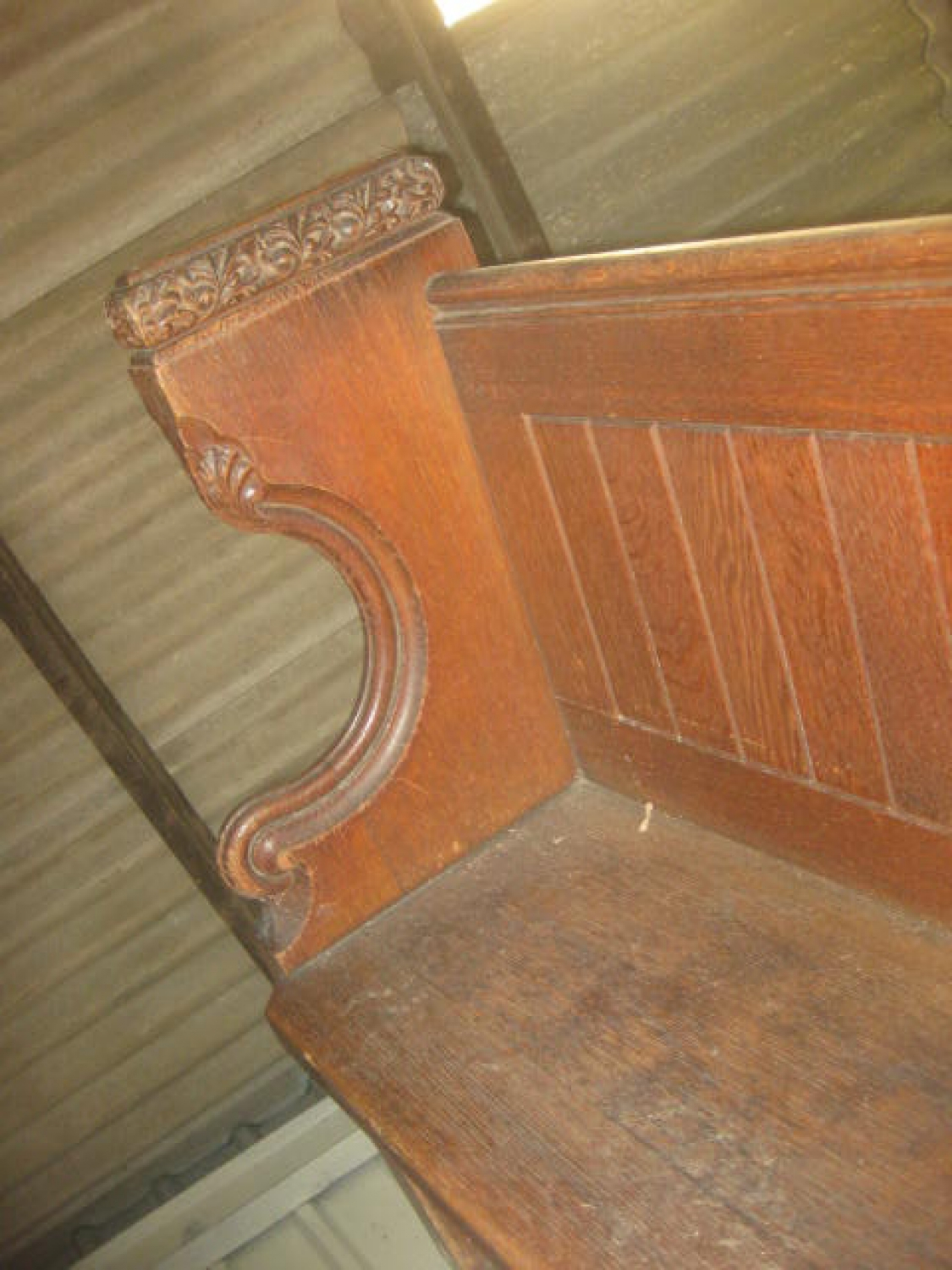 Antique Carved Oak Church Pew