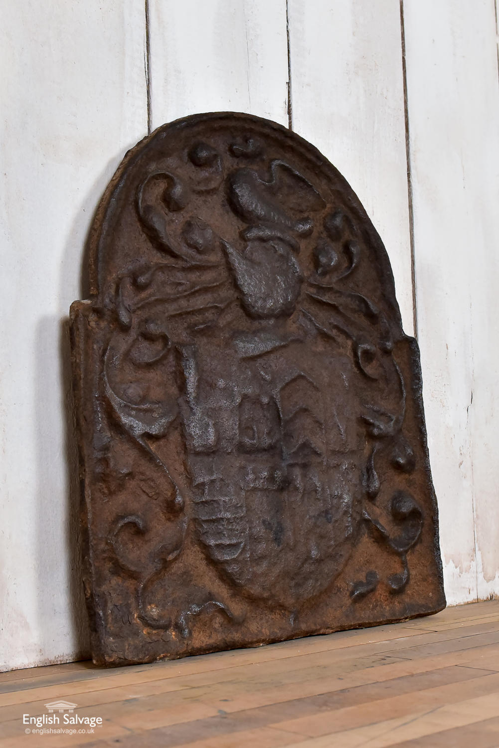 Antique Cast Iron Fireback With Coat Of Arms