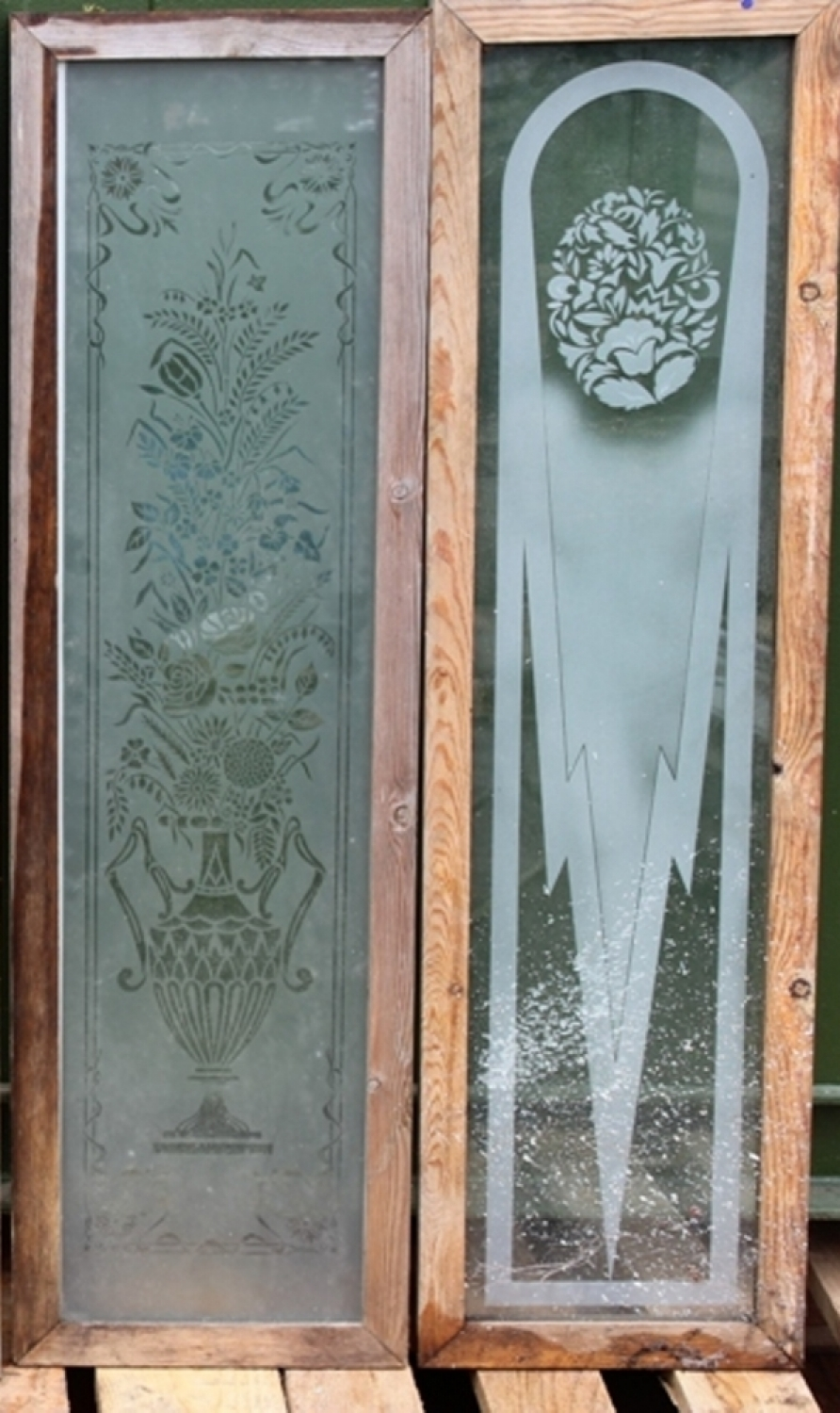 Antique Etched Glass Panels