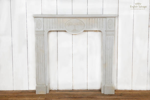 Antique French statuary marble fire surround