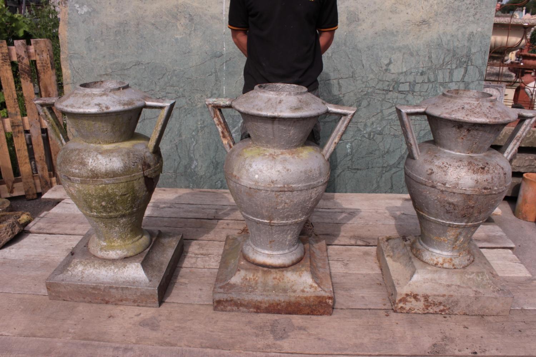 Antique Original Art Deco Cast Iron Urns