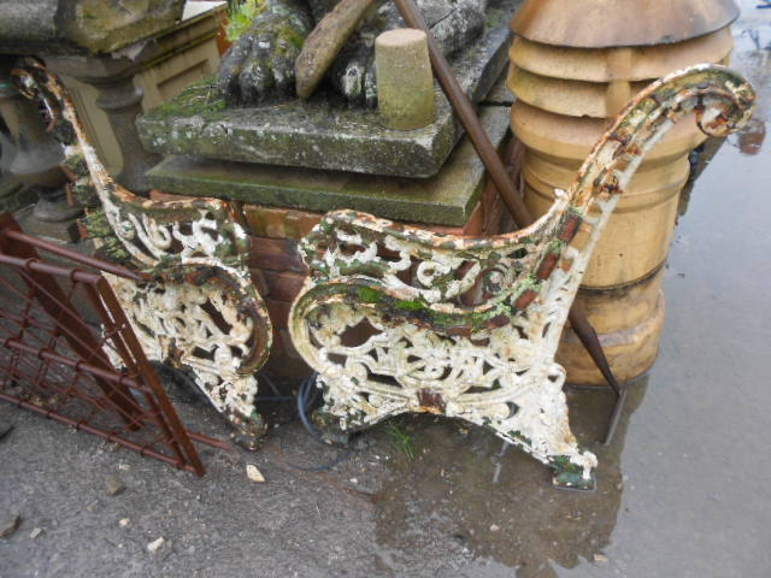Antique Painted Garden Bench Ends