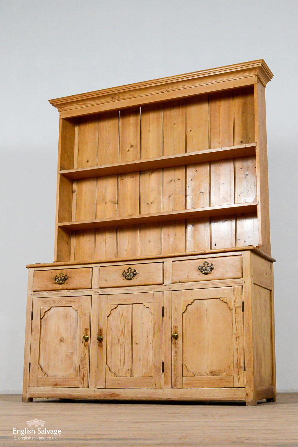 Picture of: Antique Pine Dresser With Brass Handles