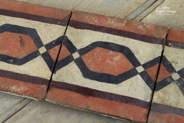 Antique Red Black Lozenge Cement Tiles
