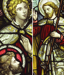 Antique religious stained glass windows reclaimed from
